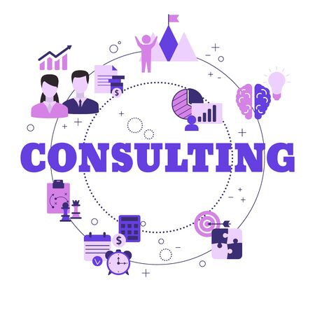 Business consulting concept with icons. Vector illustration.