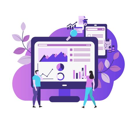 Market analysis concept with icons. Marketing technology. Vector illustration.