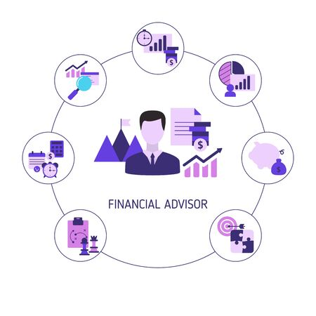 Financial advisor concept with business icons. Vector illustration. Ilustrace
