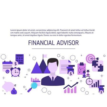 Financial advisor background with business icons. Vector illustration.