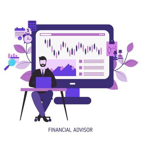 Financial advisor concept with character. Vector illustration. Ilustrace
