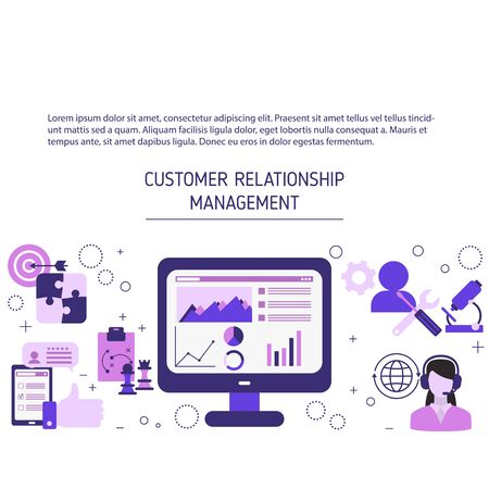 Customer relationship management background with icons. Vector illustration.