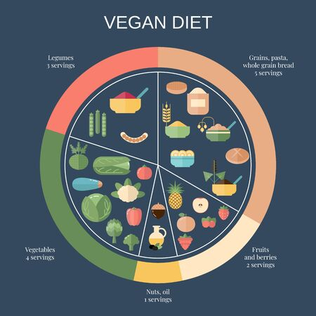 Foods infographics. Vegan Diet food pie chart with recommended diary portions.