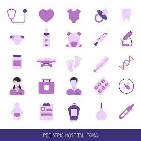 Set of Pediatric hospital clinic icons. Vector illustration.