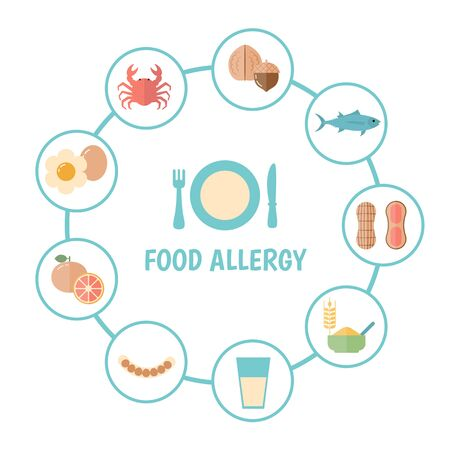Food allergy concept with food icons. Vector illustration. Ilustrace