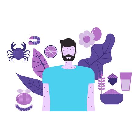 Food allergy concept with character and food icons. Vector illustration. Ilustrace