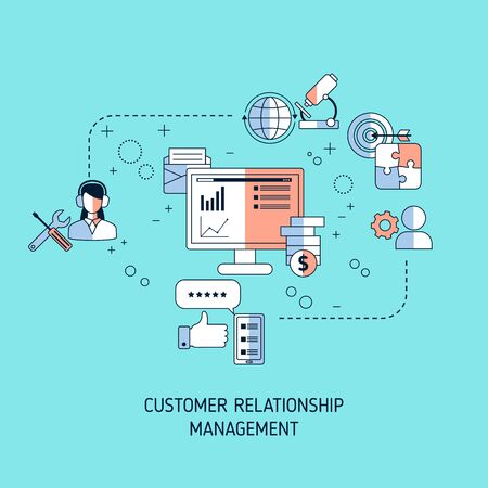 Customer relationship management concept with icons. Vector illustration. Ilustrace