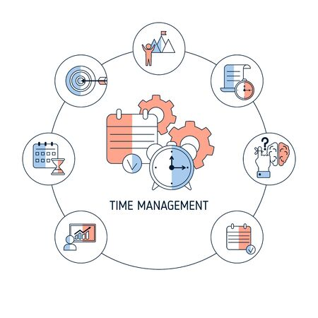 Time management concept with icons. Vector illustration.