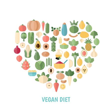 Vegan Diet concept with food icons. White background.