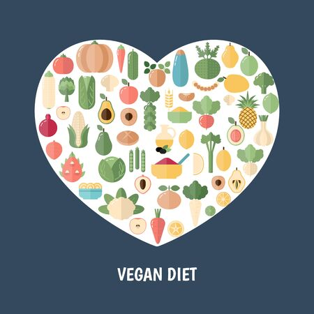 Vegan Diet concept with food icons. Blue background. Ilustrace