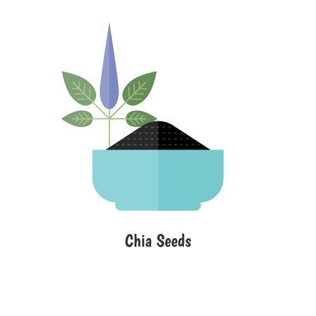 Superfood chia seeds. Healthy and organic food icon. Illusztráció