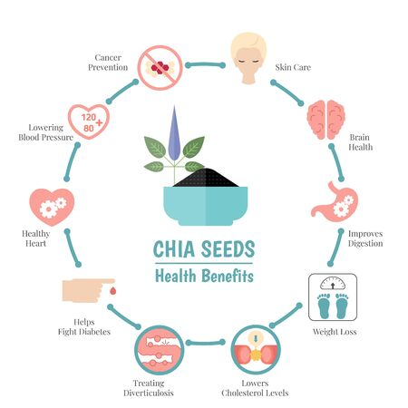 Superfood infographics. Health benefits of chia seeds. Healthy and organic food.