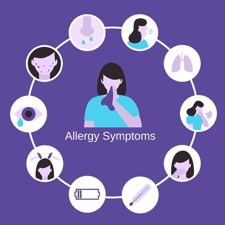 Health problem infographic. Allergy symptoms concept with allergy signs. Ilustrace