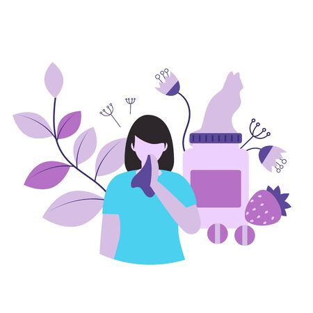 Allergy concept vector illustration. Allergies symptoms and causes,