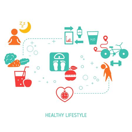 Healthy Lifestyle concept with sport and diet icons. Vector illustration. Çizim