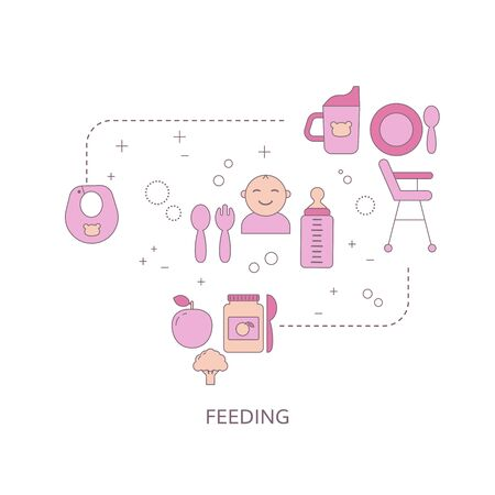 Baby feeding concept with food and baby care icons. Vector illustration. Vetores