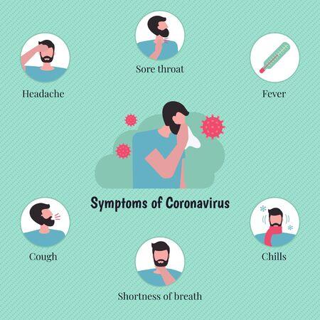 Novel Coronavirus infographics with man character. Coronavirus symptoms. Chinese virus. Vector illustration.