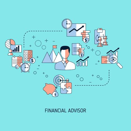 Financial advisor concept with business icons. Illustration