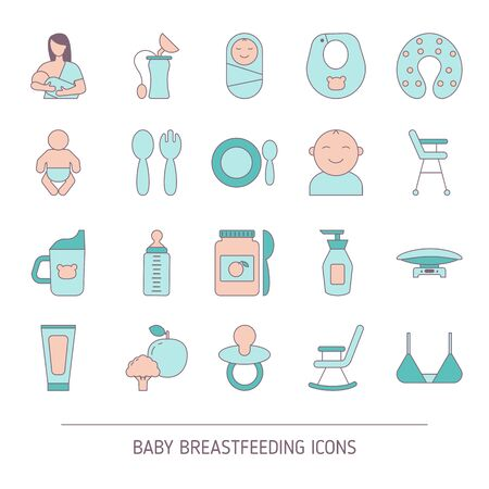 Set of Baby breastfeeding icons. Vector illustration.