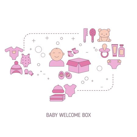 Baby welcome box concept with baby care icons. Vector illustration.