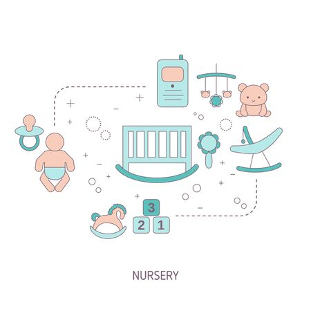 Baby nursery concept with baby care icons. Vector illustration.