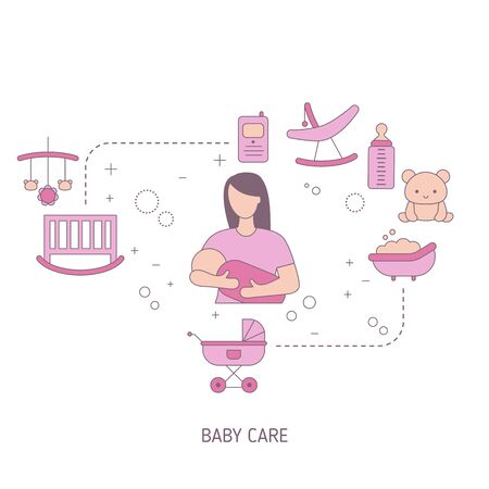Child Care concept with baby icons. Vector illustration. Çizim