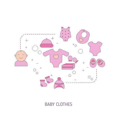 Various items of baby girl clothes. Vector illustration.