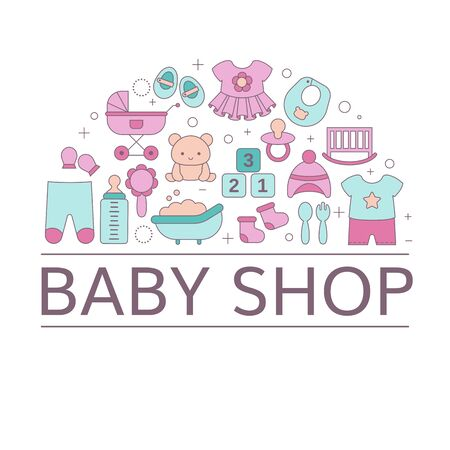 Concept of Baby shop with toys and clothes. Vector illustration.