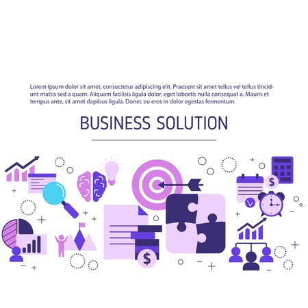 Business solutions concept with icons. Vector background.