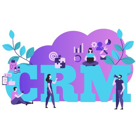 Customer relationship management concept with characters. Vector illustration.