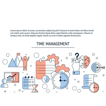 Time management background with icons. Vector illustration.