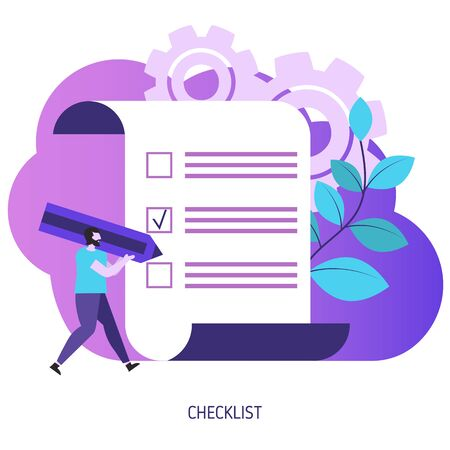 Checklist with tick marks. Man holding pencil. Vector illustration.