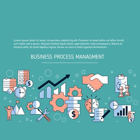 Business process management background with icons. Vector illustration.