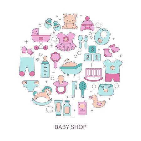 Concepto de tienda para bebés con juguetes y ropa. Ilustración de vector.