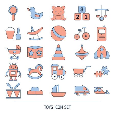 Set of baby toy icons. Vector illustration.