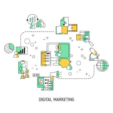 Digital marketing and digital technologies concept. Vector illustration.