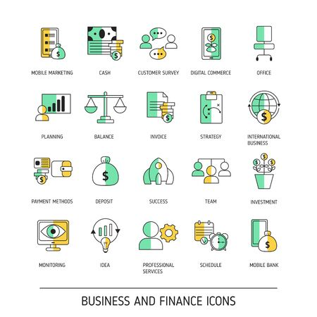 Set of business and finance web icons. Vector illustration.