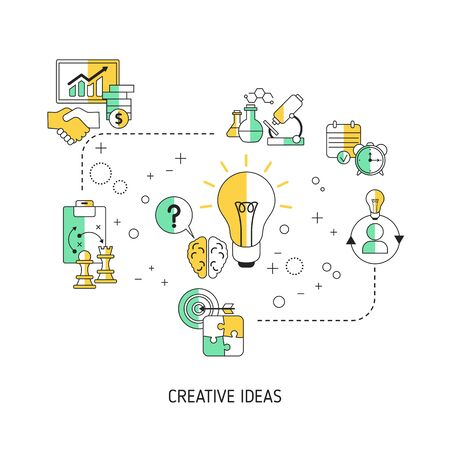Creative idea and innovation concept with business and finance icons. Vector illustration.