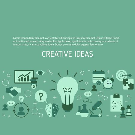 Creative idea and innovation background with business and finance icons. Vector illustration.
