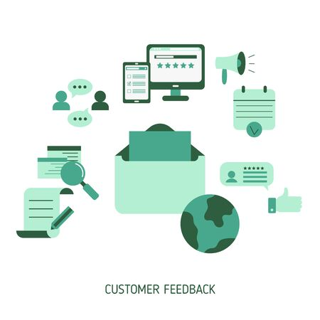 User online reviews concept. Vector illustration.