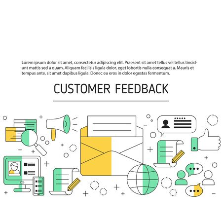 User online reviews background. Vector illustration.