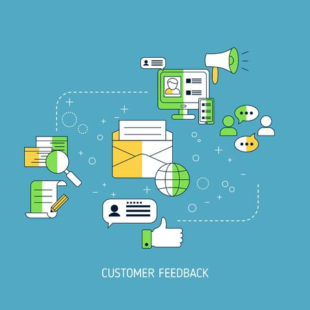User online reviews concept. Vector illustration.