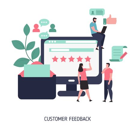 Customer feedback concept with people characters. Online rating. Trendy flat design. Stock Illustratie