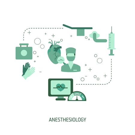 Anesthesiology Concept. Vector illustration for website, app, banner, etc.