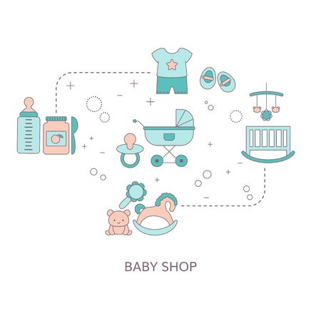 Concept of Baby shop with toys and clothes. Baby boy. Vector illustration.