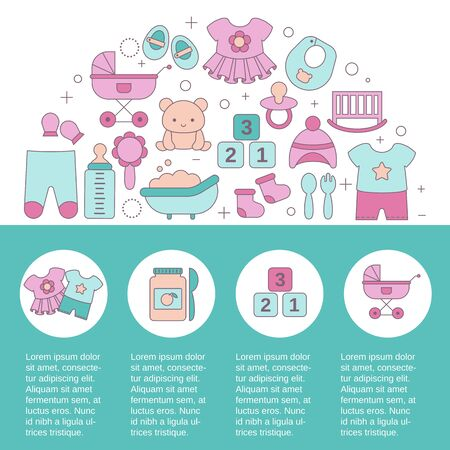 Site Template for Baby shop with toys and clothes. Vector illustration.