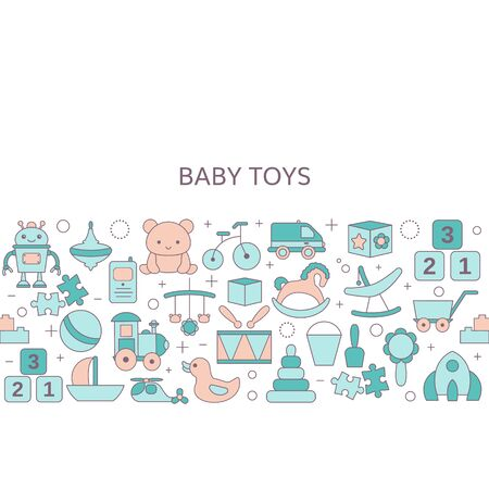 Background with baby toy icons. Vector illustration. Vector Illustration