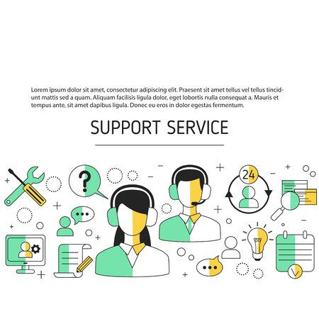 Support service concept. Help and assistance background. Vector illustration.