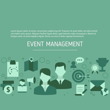 Event management background with business icons. Vector illustration.
