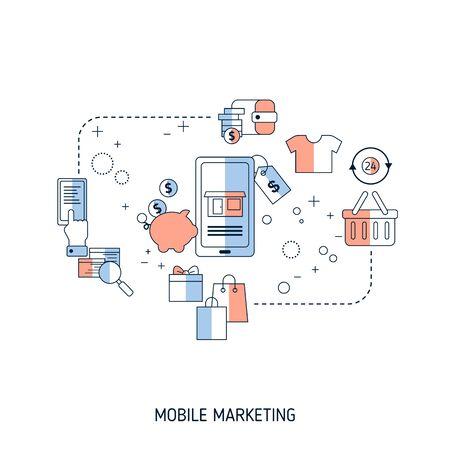 Concept de marketing mobile. Illustration vectorielle pour site Web, application, bannière, etc.